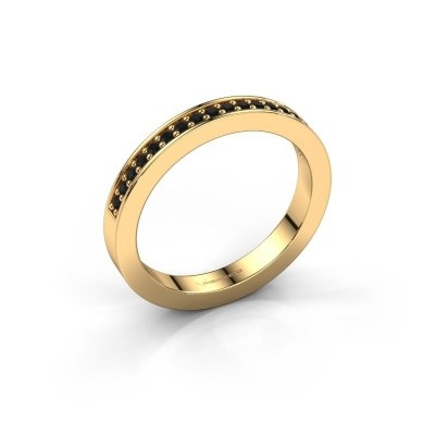 Stackable ring Loes 4 375 gold black diamond 0.216 crt