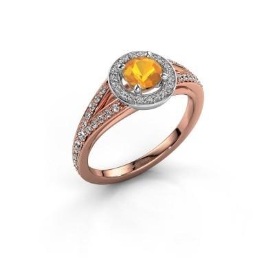 Aanzoeksring Angelita RND 585 rosé goud citrien 5 mm