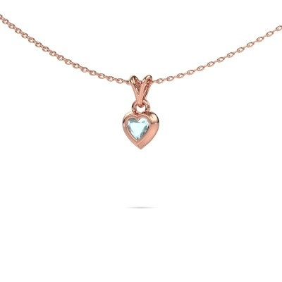 Picture of Pendant Charlotte Heart 375 rose gold aquamarine 4 mm