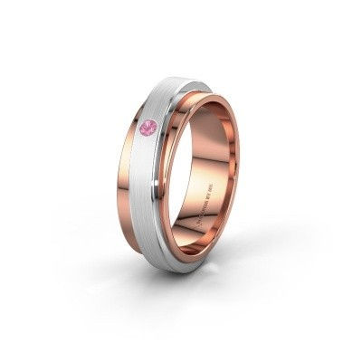 Huwelijksring WH2220L16D 585 rosé goud roze saffier ±6x2.2 mm