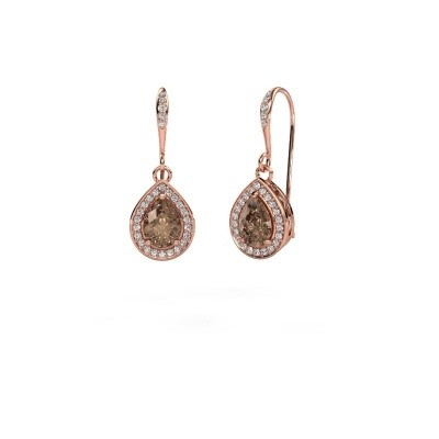 Drop earrings Beverlee 2 375 rose gold brown diamond 1.435 crt