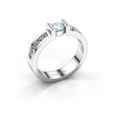 Engagement ring Isabel 2 925 silver aquamarine 4 mm