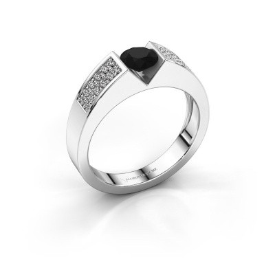 Verlovingsring Lizzy 3 925 zilver zwarte diamant 0.75 crt