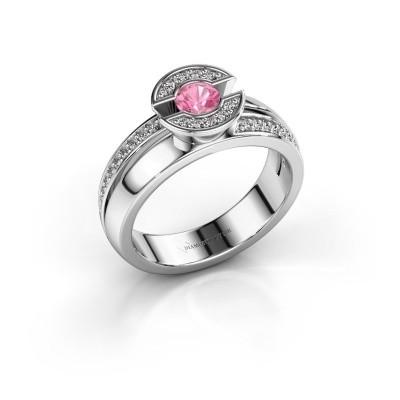 Foto van Ring Jeanet 2 585 witgoud roze saffier 4 mm