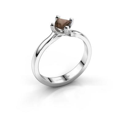 Engagement ring Dewi Square 585 white gold smokey quartz 4 mm