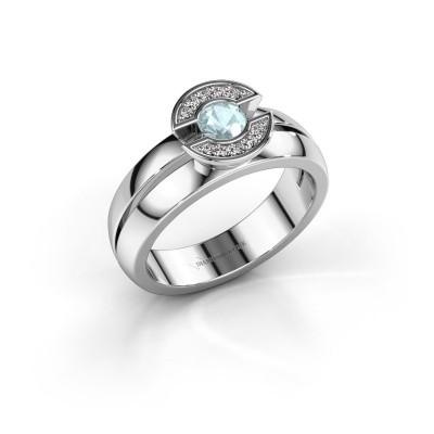 Foto van Ring Jeanet 1 925 zilver aquamarijn 4 mm