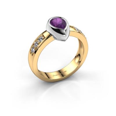 Ring Charlotte Pear 585 gold amethyst 8x5 mm