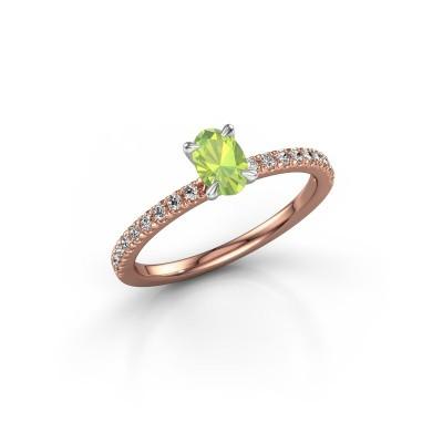 Foto van Verlovingsring Crystal OVL 2 585 rosé goud peridoot 6x4 mm