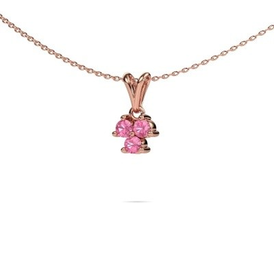 Foto van Ketting Shirlee 375 rosé goud roze saffier 3 mm