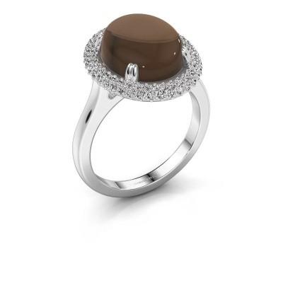 Ring Jayna 950 platina rookkwarts 12x10 mm