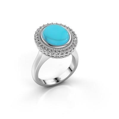 Foto van Ring Mila 925 zilver blauw topaas 12x10 mm