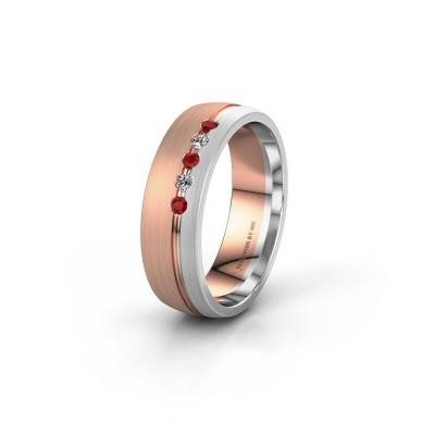 Trouwring WH0323L25AM 585 rosé goud robijn ±6x1.7 mm