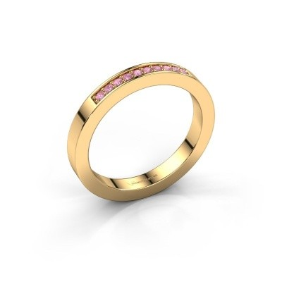 Stackable ring Loes 3 375 gold pink sapphire 1.3 mm
