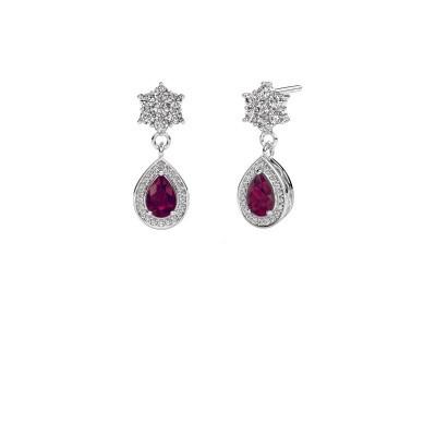 Drop earrings Era 950 platinum rhodolite 6x4 mm