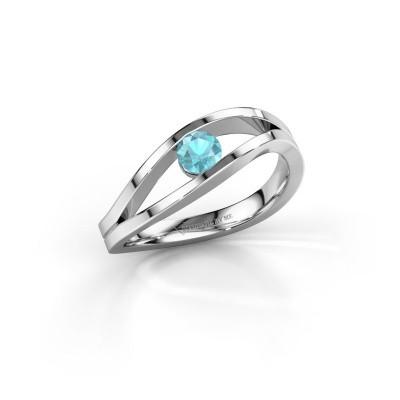 Foto van Ring Sigrid 1 925 zilver blauw topaas 4 mm