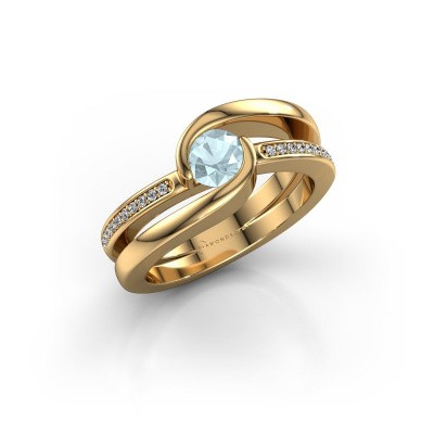 Foto van Ring Xenia 2 585 goud aquamarijn 5 mm