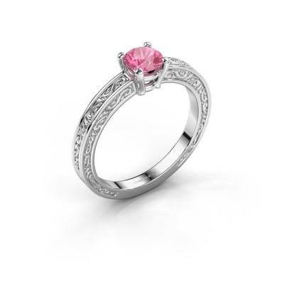 Foto van Verlovingsring Claudette 1 585 witgoud roze saffier 5 mm