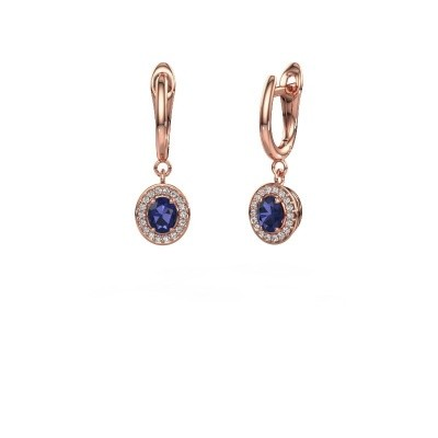 Drop earrings Nakita 375 rose gold sapphire 5x4 mm