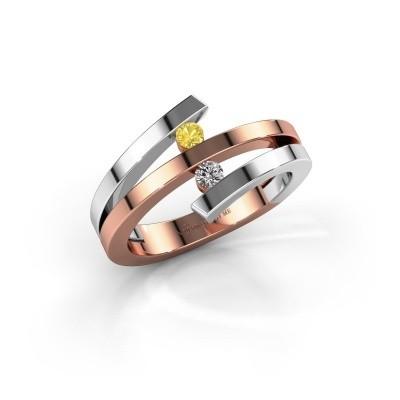 Ring Synthia 585 rosé goud gele saffier 2.5 mm