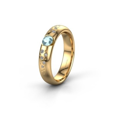 Trouwring WH2104L34A 375 goud aquamarijn ±4x1.7 mm