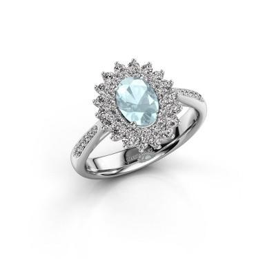 Engagement ring Alina 2 585 white gold aquamarine 7x5 mm