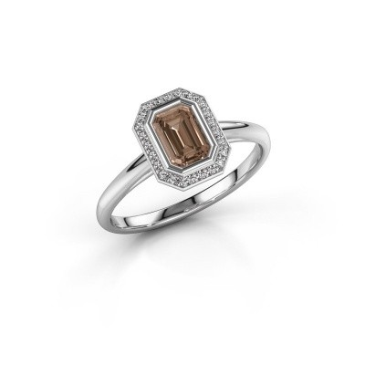 Verlovingsring Noud 1 EME 925 zilver bruine diamant 0.76 crt