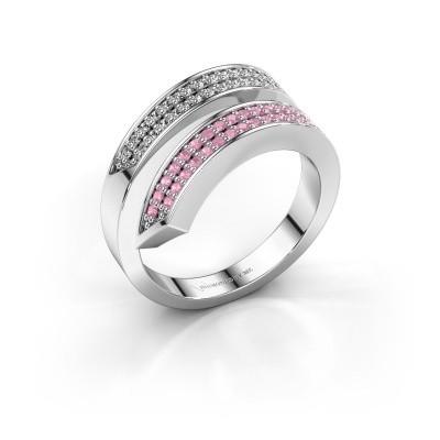 Ring Pien 925 zilver roze saffier 1.2 mm