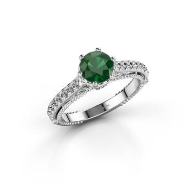 Foto van Verlovingsring Venita 585 witgoud smaragd 6.5 mm