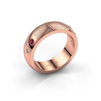 Foto van Ring Minke 375 rosé goud rhodoliet 2 mm