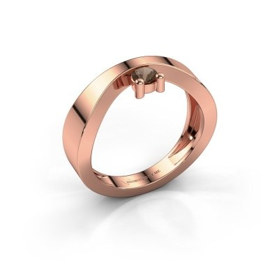 Bague de fiançailles Elisabeth 375 or rose quartz fumé 3.4 mm