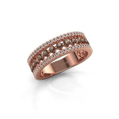 Verlovingsring Elizbeth 1 375 rosé goud rookkwarts 2 mm