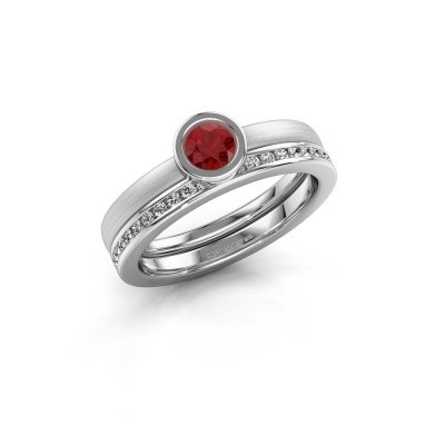 Photo de Bague Cara 585 or blanc rubis 4 mm