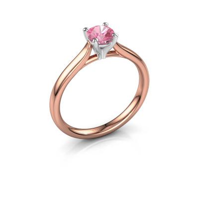 Foto van Verlovingsring Mignon rnd 1 585 rosé goud roze saffier 5 mm