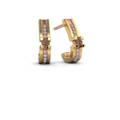 Foto van Oorbellen Myrthe 585 rosé goud bruine diamant 0.20 crt