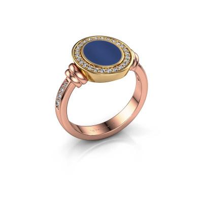 Foto van Zegelring Bailey 585 rosé goud lapis lazuli 10x8 mm