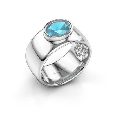 Ring Anouschka 925 silver blue topaz 8x6 mm