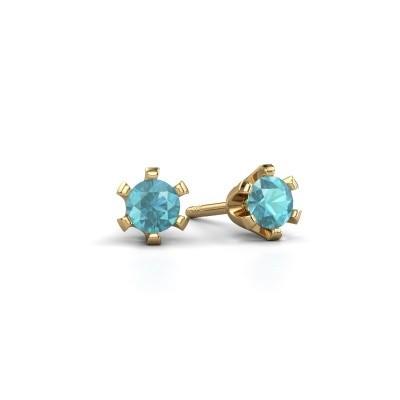 Picture of Stud earrings Shana 375 gold blue topaz 4 mm