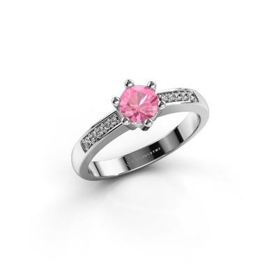 Verlovingsring Luna 2 585 witgoud roze saffier 5 mm