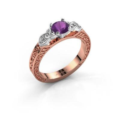 Foto van Verlovingsring Gillian 585 rosé goud amethist 5 mm