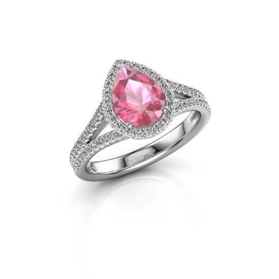 Foto van Verlovingsring Verla pear 2 950 platina roze saffier 8x6 mm