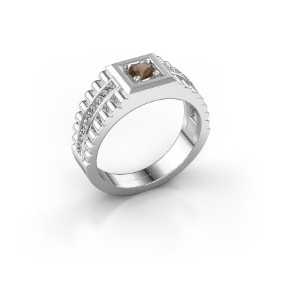 Picture of Rolex style ring Maikel 925 silver smokey quartz 4.2 mm