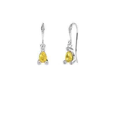 Drop earrings Bunny 2 375 white gold yellow sapphire 7x5 mm