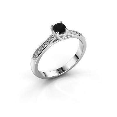 Pavé solitaire tasteful engagement ring Mia 2 silver black diamond ...