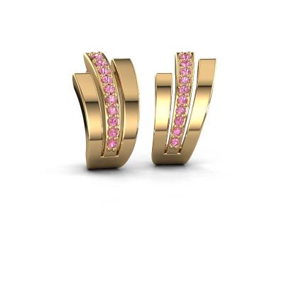 Oorbellen Emeline 585 goud roze saffier 1.1 mm