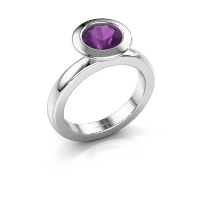 Stacking ring Trudy Round 950 platinum amethyst 7 mm