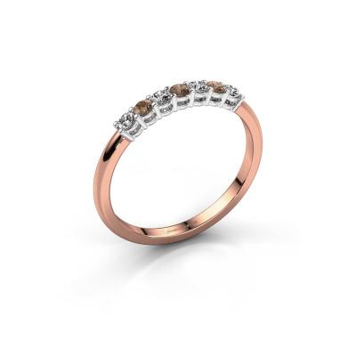 Verlovings ring Michelle 7 585 rosé goud bruine diamant 0.21 crt