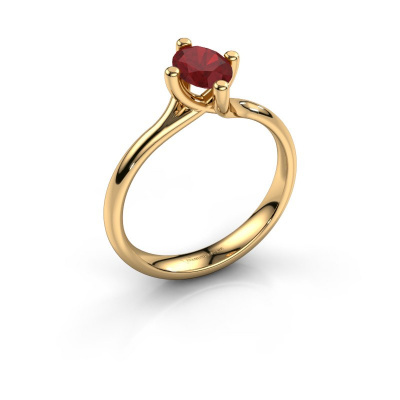 Engagement ring Dewi Oval 585 gold ruby 7x5 mm