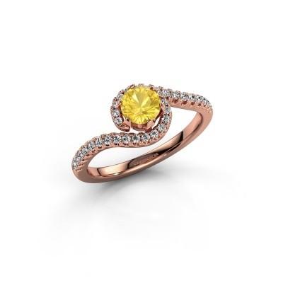 Verlovingsring Elli 375 rosé goud gele saffier 5 mm