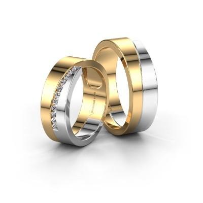 Bild von Eheringe set WHR0362LM ±6x2 mm 14 Karat Gold Diamant 0.015 crt