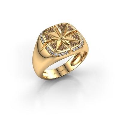 Heren ring Ravi 585 goud bruine diamant 0.35 crt